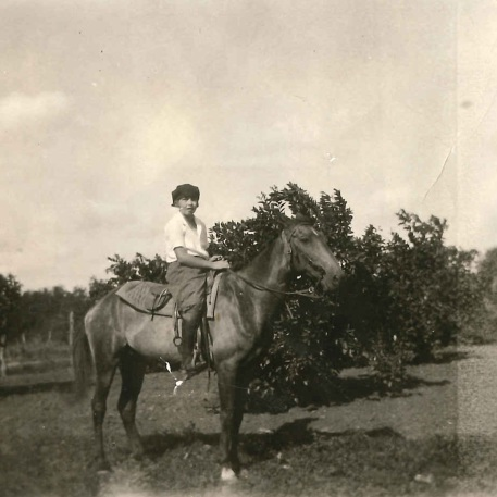 Maurine Emily Tanberg as a teen on her horse Ned in the Rio Grande Valley