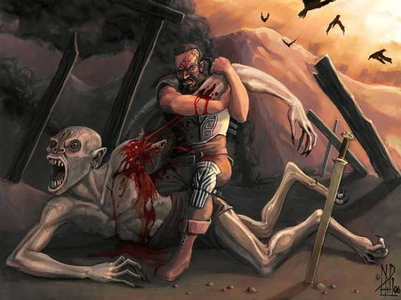 Beowulf is depicted in his battle against Grendl : (Google Images)