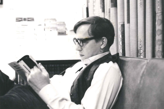 Bob Litton, March 1967, reading An American Tragedy in Wesley-PCF office